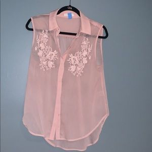 Light pink floral collared short sleeve blouse